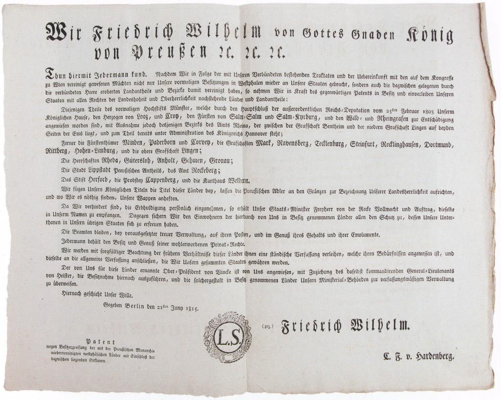 Urkunde der preußischen Besitzergreifung Westfalens 1815