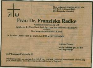 """Todesanzeige in den """"Ruhr Nachrichten"""" 1985"""