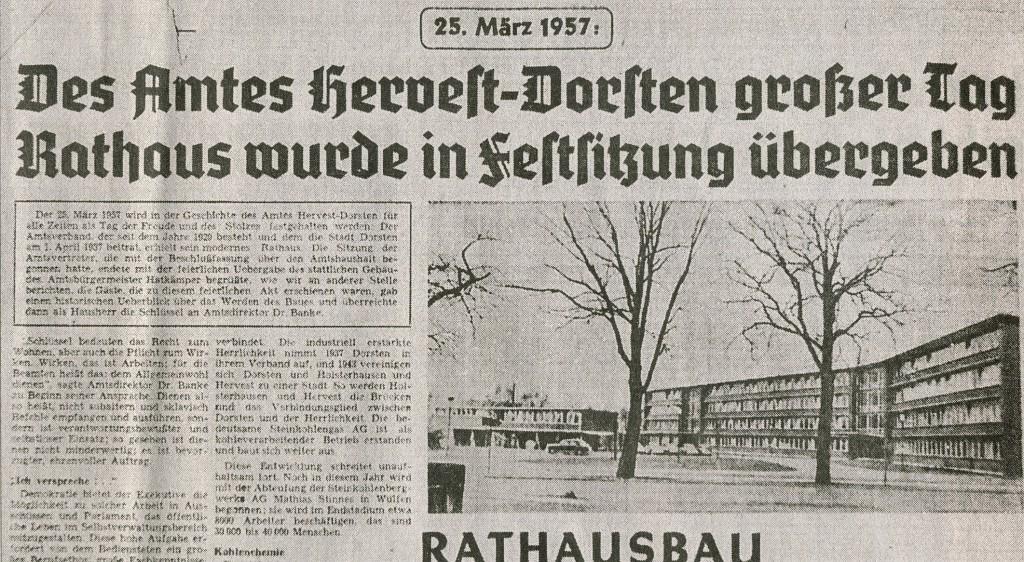 Ruhr Nachrichten von 1957 (Ausriss)