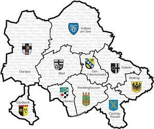 Kreiskarte mit den Städten