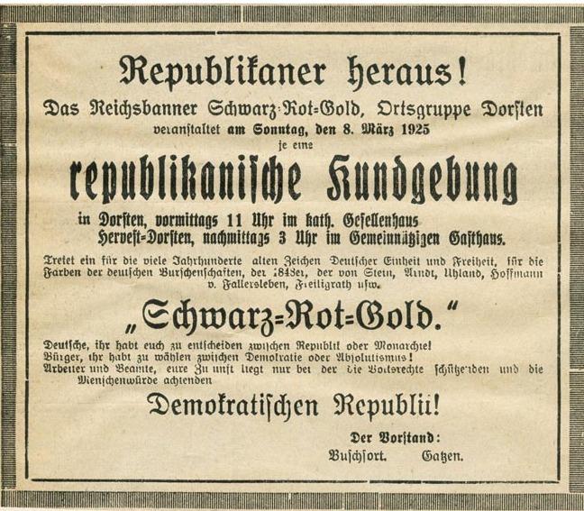 Kundgebungen in Dorsten und Hervest-Dorsten 1925