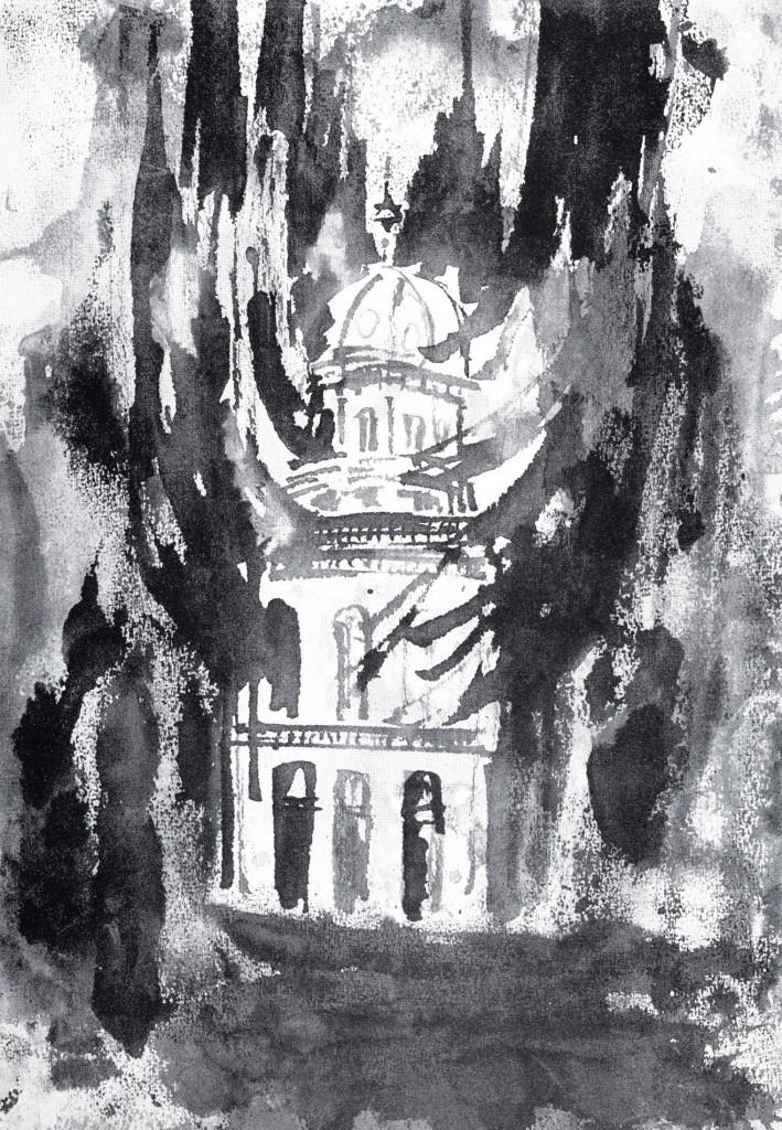 Tuschezeichnung von Tisa von der Schulenburg zur Zerstörung der Synagogen