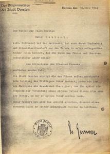 Grundstück als Ehrengabe der Stadt an Penkiert 1944