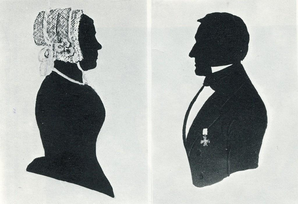 Bernhard Rive und Carolina Beckmann, kolorierte Silhouetten
