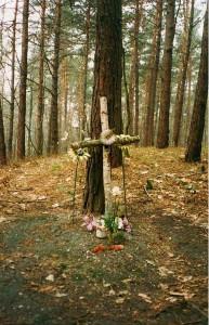 Deutsches Soldatengrab im Wald bei Rybnik (Polen) 1994 (inzwischen überführt); Foto: Wolf Stegemann