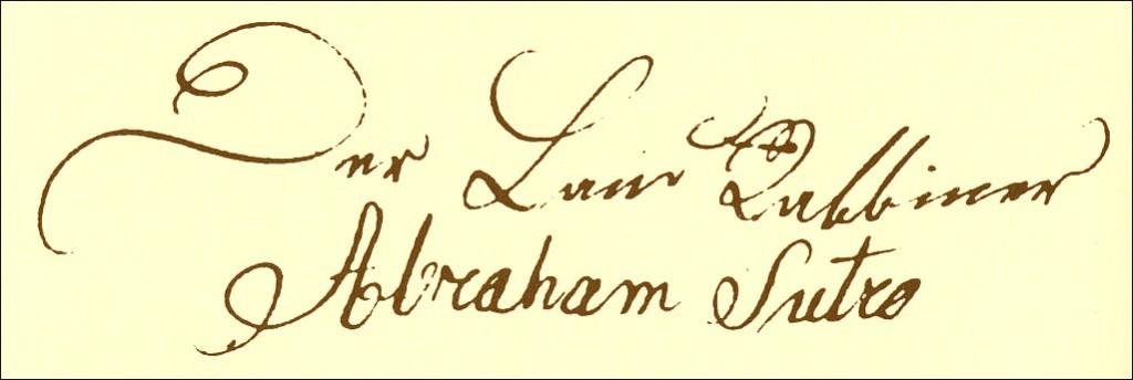 Unterschrift Abraham Sutros