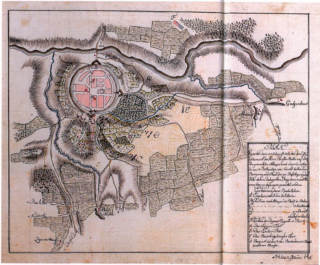 Karte der Militärstellungen rund um Dorsten
