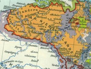 Karte der Niederlande im spanischen Erbfolgekrieg