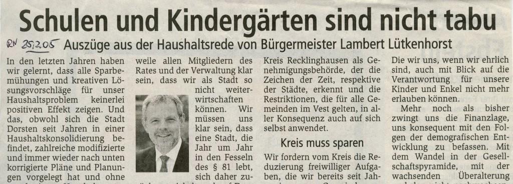 Dorstener Zeitung vom 25. Februar 2005 (Ausriss)