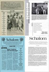Schalom-Ausgaben 1994, 2010, 1988, 1989 (im Uhrzeigersytem)
