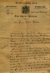 Schreiben an BM Gahlen wegen Schürholz 1811