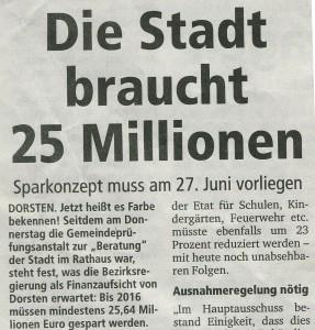 Dorstener Zeitung vom 25. Februar 2012 (Ausriss)
