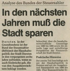 Ruhr Nachrichten vom 30. Oktober 1986 (Ausriss)