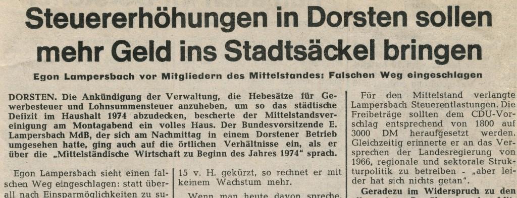 Ruhr Nachrichten (heute DZ) vom vom 23. Januar 1974