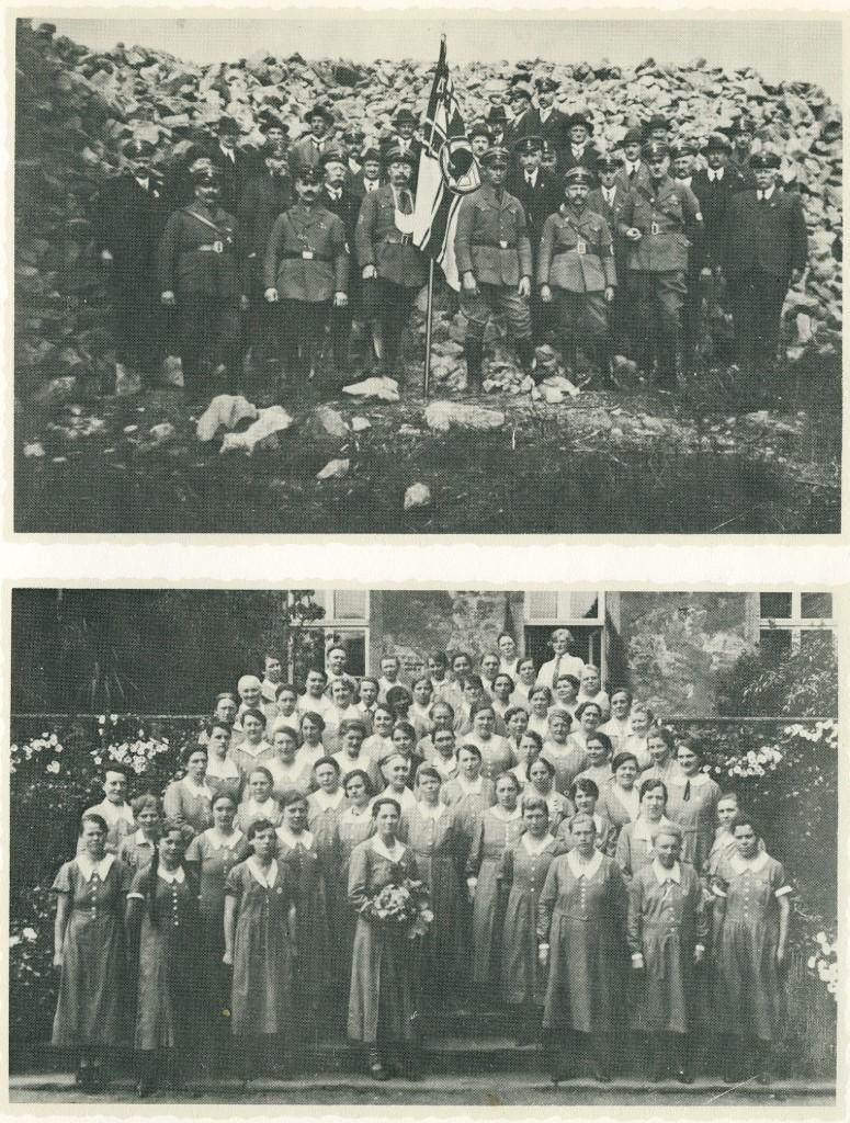 Stahlhelm-Mitglieder 1934 in der Hohen Mark, Frauengruppe des Stahlhelm auf der Treppe von Schloss Lembeck 1934