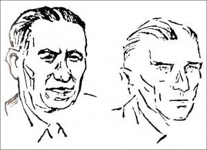 Die Gestapo Recklinghausen: Tenholt und sein Chef Graf von Stosch (r.); Justizzeichnung