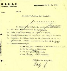 Umbenennungen in der NS-Zeit 1933 in Holsterhausen