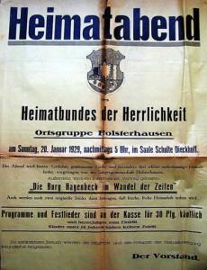 Ankündigungsplakat der Ortsgruppe Holsterhausen 1929