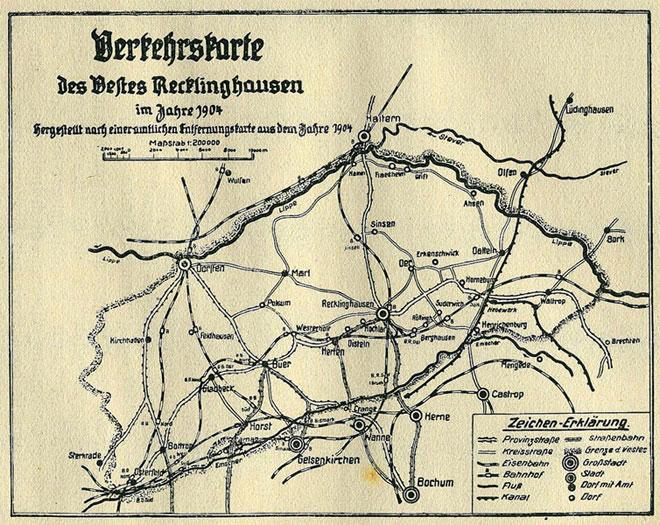 Karte zur Verkehrslage 1904