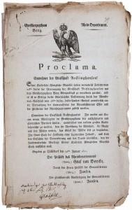 Proklamation über den Übergang in das Großherzogtum Berg von 1811; Archiv Recklinghausen