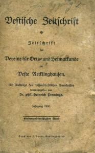 Titel Vestische Zeitschrift 1930