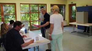 Wahllokal 2014 im KIndergarten Wischenstück in Wulfen; Foto: Guido Bludau