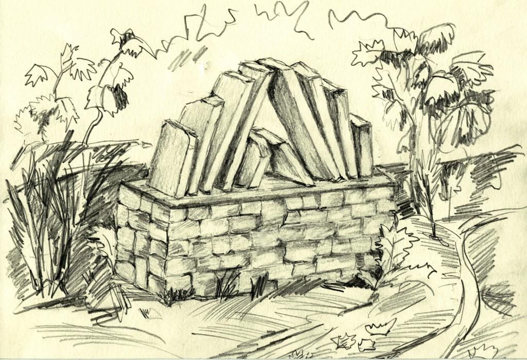 Denkmal-Enwurf für die ehemalige Synagoge; Zeichnung: Wolf Stegemann