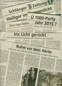 Heinz Wiemann-Schlagzeilen in Schlangen