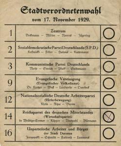 Wahlschein Dorsten 1929