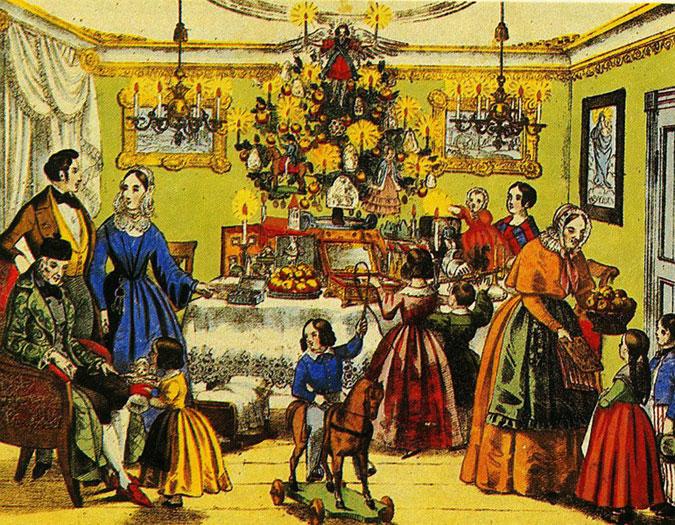 Fest mit Weihnachtsbaum