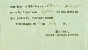 Postschein von 1808