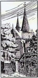 Zeichnung von Anna Wichelhaus: Kirche in Hervest
