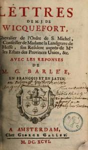 Innentitel von Wicquefort, 1696 gedruckt