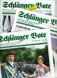 """Ausgaben von Wiemanns """"Schlänger Bote"""""""