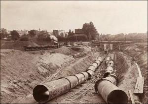 Verlegung der Rohre 1926