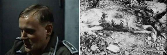 """Der Schauspieler .... Schmiessow als FRitz Tornow, daneben Hitlers toter HUnd """"Blondi"""","""