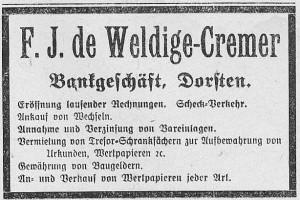 Inserat Bankhaus de Weldige von 1911 in der Dorstener Volkszeitung