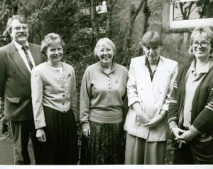 Gründungsvorstand mit Wolf Stegemann, Christel Winkel, Sr. Johanna Eichmann, Elisabeth Cosanne-Schulte-Huxel, Anke Klapsing (v. l.)