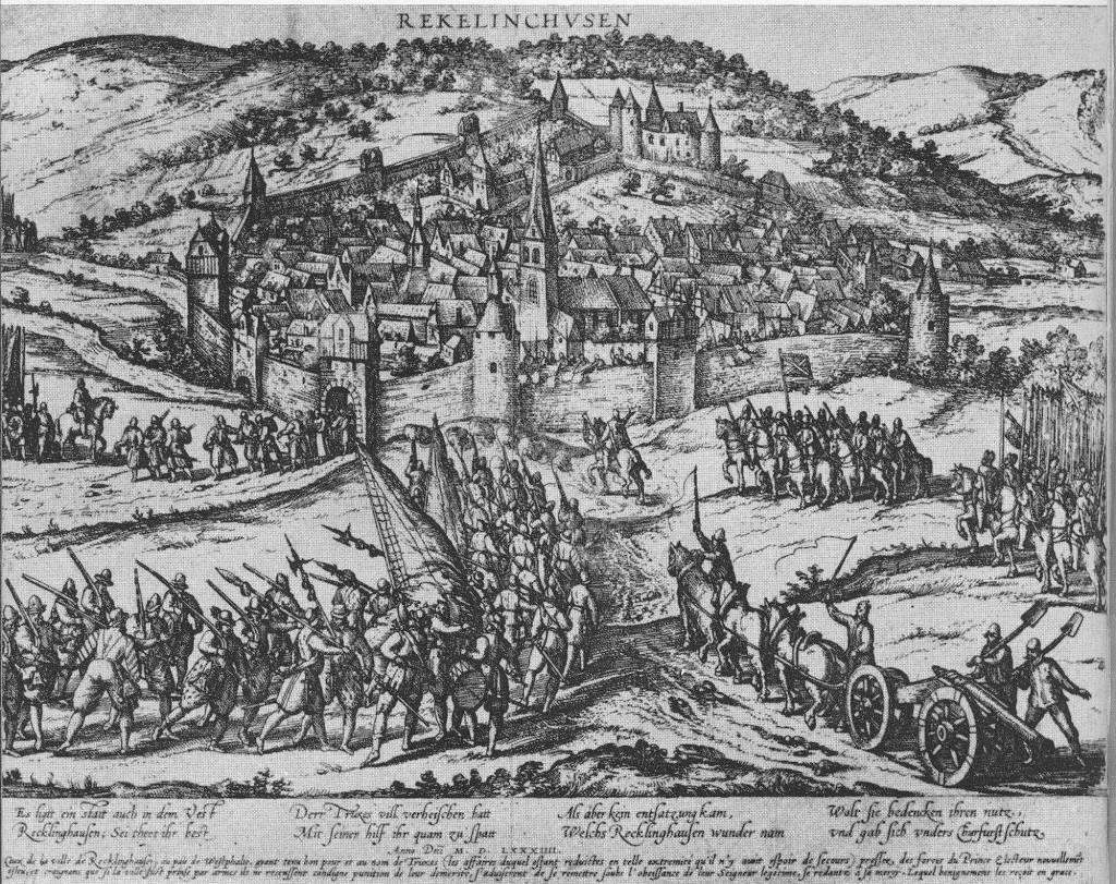 Belagerung Recklinghausens im Truchsessischen Krieg; Stich von Hogenberg 1584